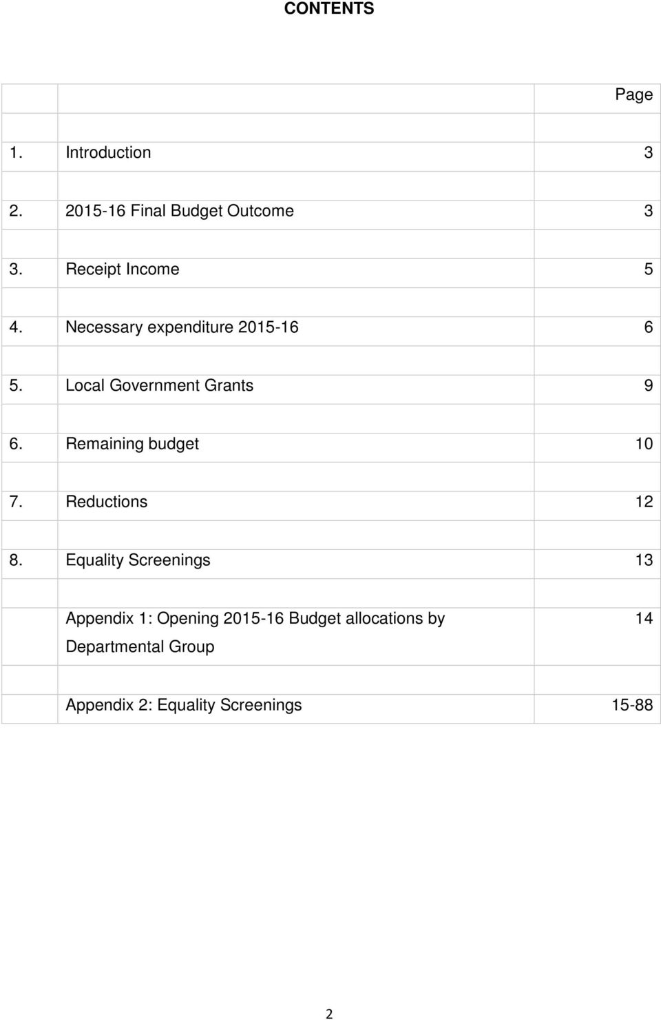 Local Government Grants 9 6. Remaining budget 10 7. Reductions 12 8.