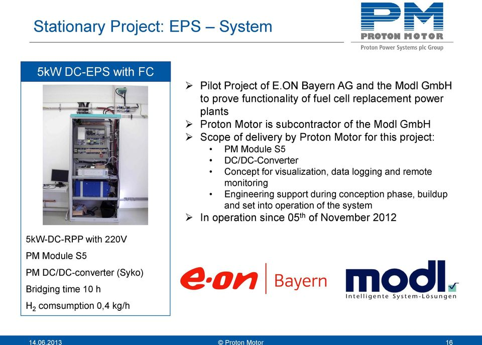 delivery by Proton Motor for this project: PM Module S5 DC/DC-Converter Concept for visualization, data logging and remote monitoring Engineering support
