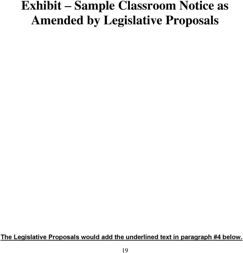 Legislative Proposals would add the
