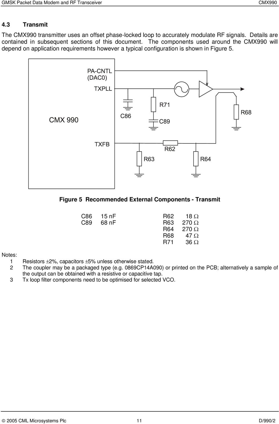 Cmx990 Gmsk Packet Data Modem And Rf Transceiver Pdf Figure 1113 A Simple Voice Scrambling Descrambling Circuit At 5 Recommended External Components Transmit C86 15 Nf R62 18 C89 68