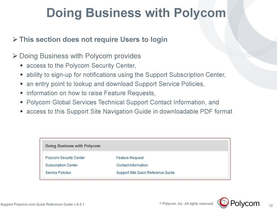 point to lookup and download Support Service Policies, information on how to raise Feature Requests, Polycom Global