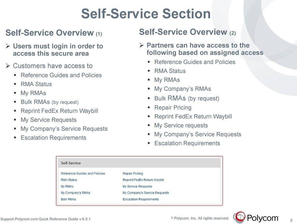 Requirements Self-Service Overview (2) Partners can have access to the following based on assigned access Reference Guides and Policies RMA Status My
