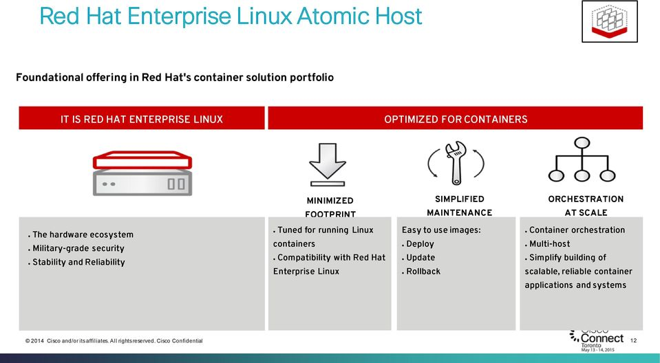 security Stability and Reliability Tuned for running Linux containers Compatibility with Red Hat Enterprise Linux Easy to use