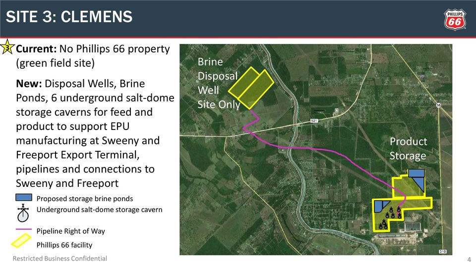 pipelines and connections to Sweeny and Freeport Proposed storage brine ponds Underground salt-dome storage cavern