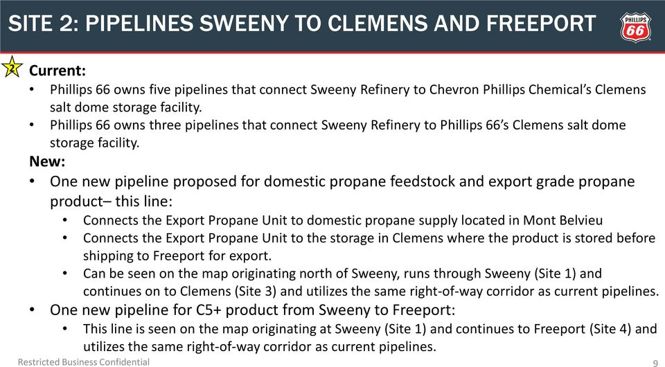 New: One new pipeline proposed for domestic propane feedstock and export grade propane product this line: Connects the Export Propane Unit to domestic propane supply located in Mont Belvieu Connects
