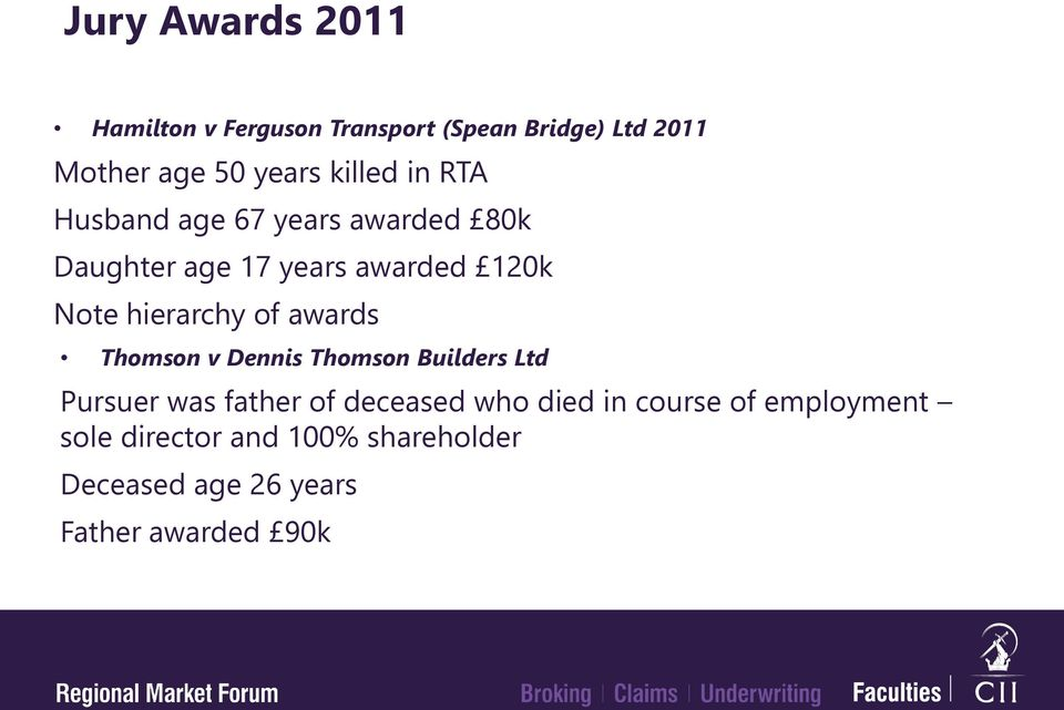 hierarchy of awards Thomson v Dennis Thomson Builders Ltd Pursuer was father of deceased who