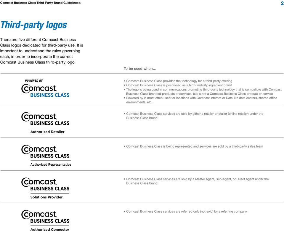 To be used when Comcast Business Class provides the technology for a third-party offering Comcast Business Class is positioned as a high-visibility ingredient brand The logo is being used in