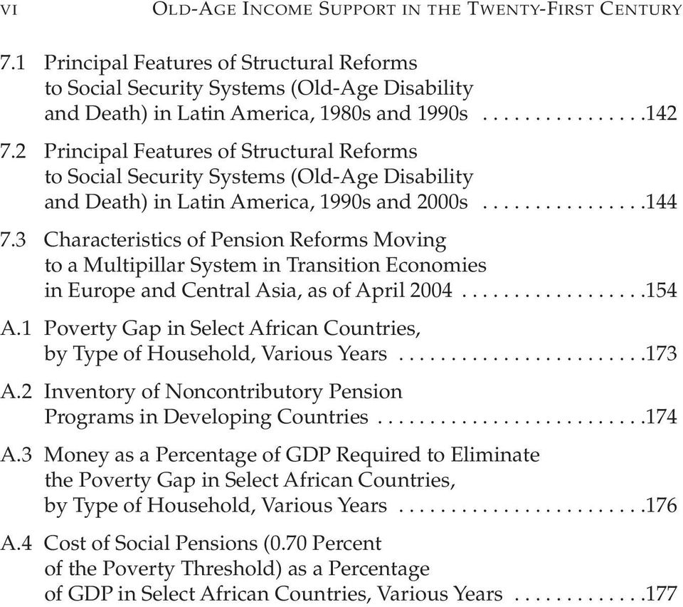3 Characteristics of Pension Reforms Moving to a Multipillar System in Transition Economies in Europe and Central Asia, as of April 2004..................154 A.