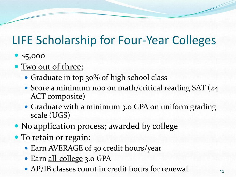 0 GPA on uniform grading scale (UGS) No application process; awarded by college To retain or regain: