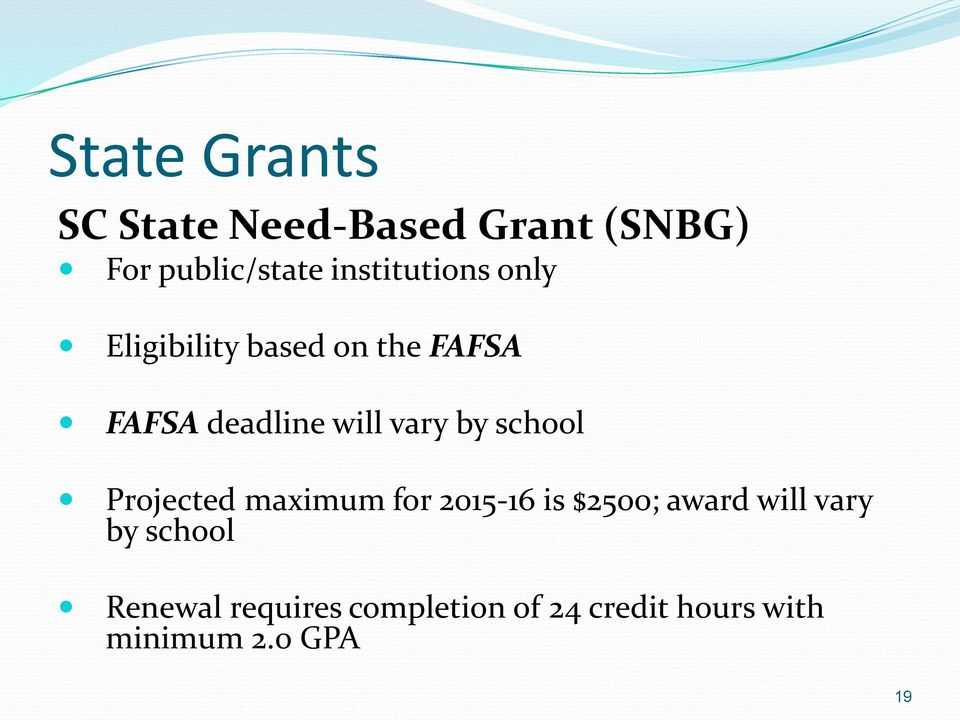 vary by school Projected maximum for 2015-16 is $2500; award will vary