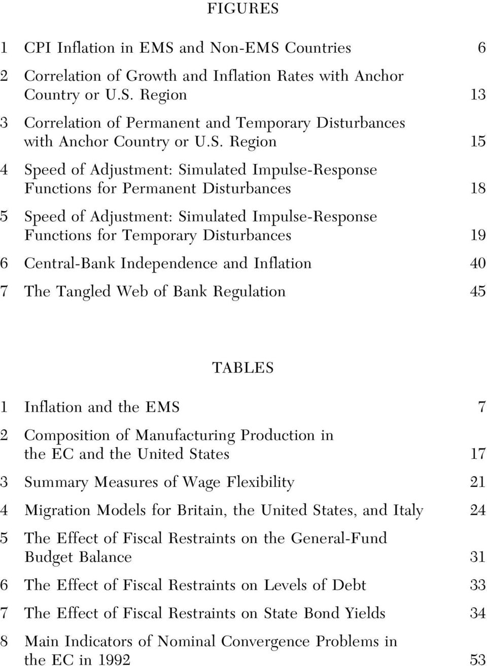 Central-Bank Independence and Inflation 40 7 The Tangled Web of Bank Regulation 45 TABLES 1 Inflation and the EMS 7 2 Composition of Manufacturing Production in the EC and the United States 17 3