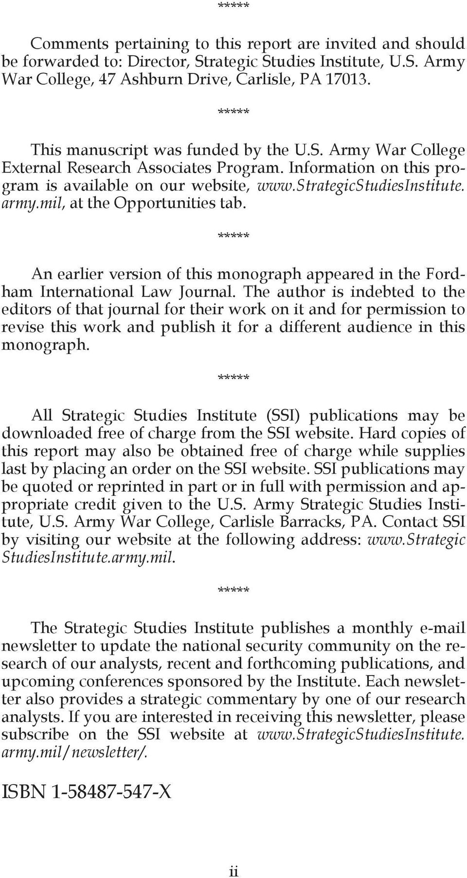 mil, at the Opportunities tab. ***** An earlier version of this monograph appeared in the Fordham International Law Journal.