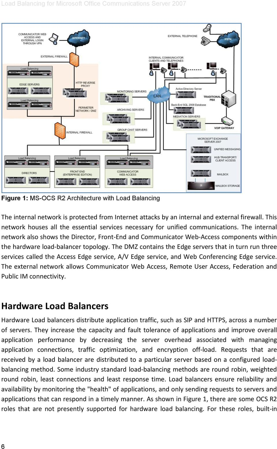 The internal network also shows the Director, Front-End and Communicator Web-Access components within the hardware load-balancer topology.