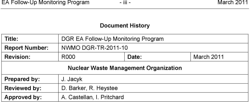 Revision: R000 Date: March 2011 Nuclear Waste Management Organization