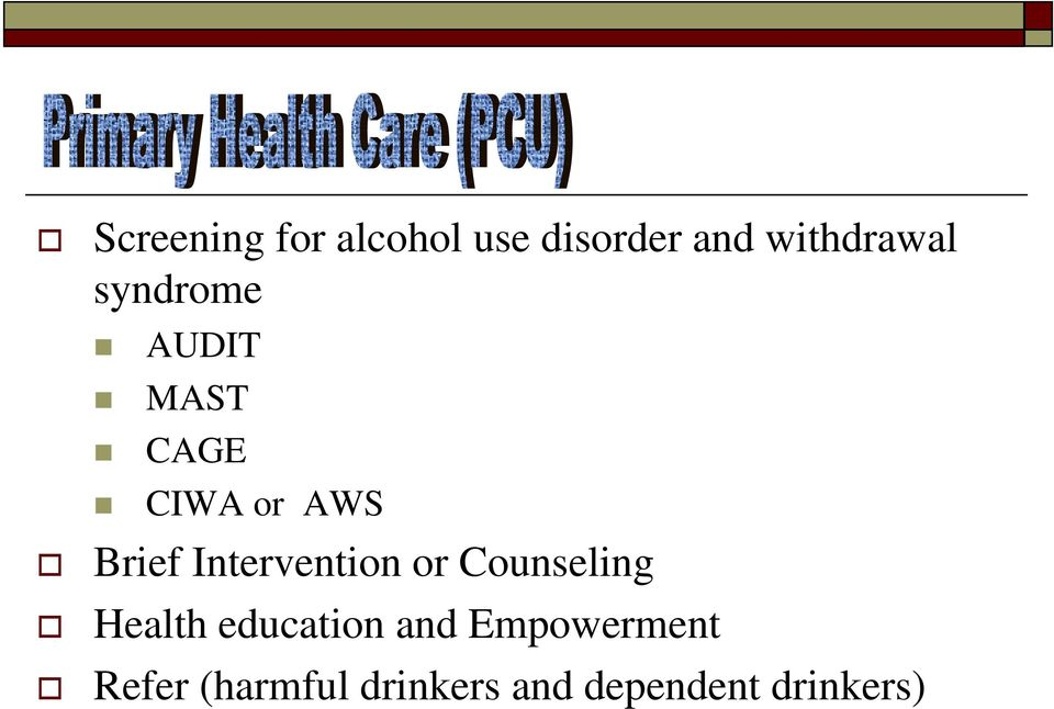 Intervention or Counseling Health education and