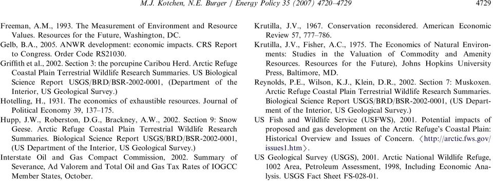 Arctic Refuge Coastal Plain Terrestrial Wildlife Research Summaries. US Biological Science Report USGS/BRD/BSR-2002-0001, (Department of the Interior, US Geological Survey.) Hotelling, H., 1931.