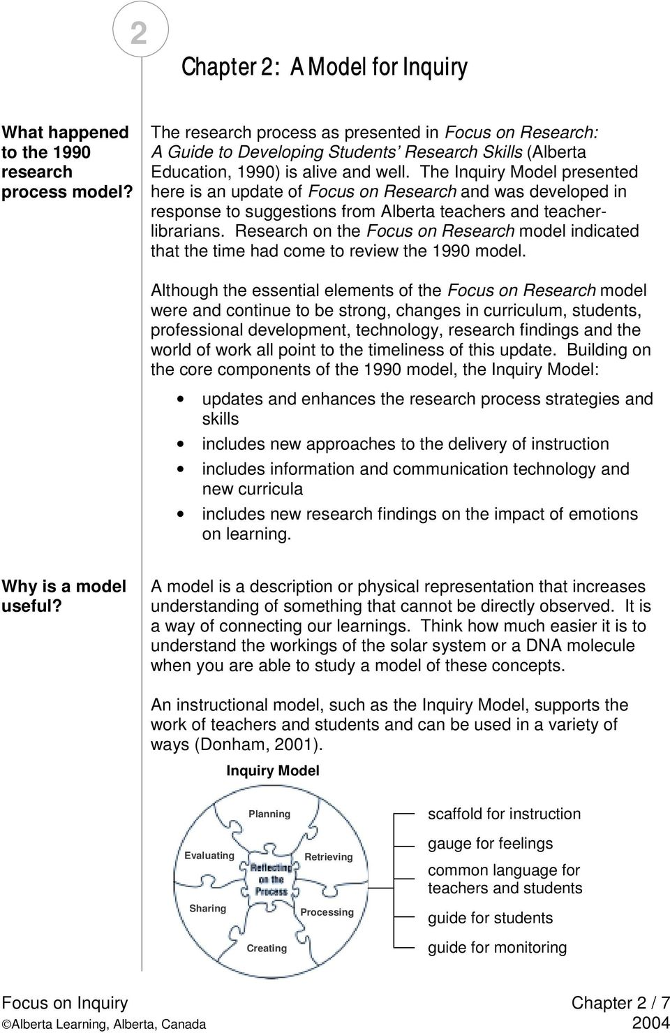 The Inquiry Model presented here is an update of Focus on Research and was developed in response to suggestions from Alberta teachers and teacherlibrarians.