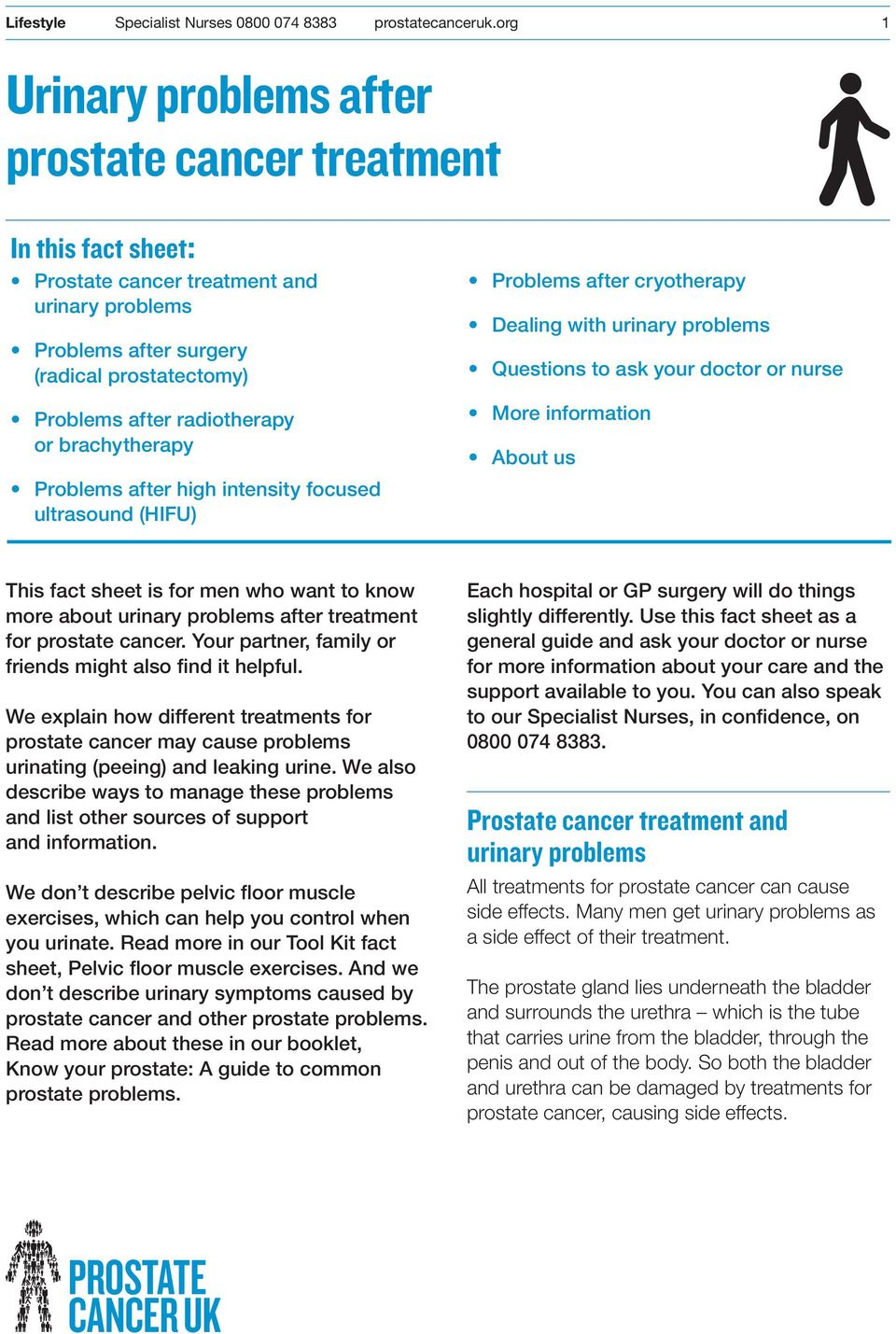 fact sheet is for men who want to know more about urinary problems after treatment for prostate cancer. Your partner, family or friends might also find it helpful.