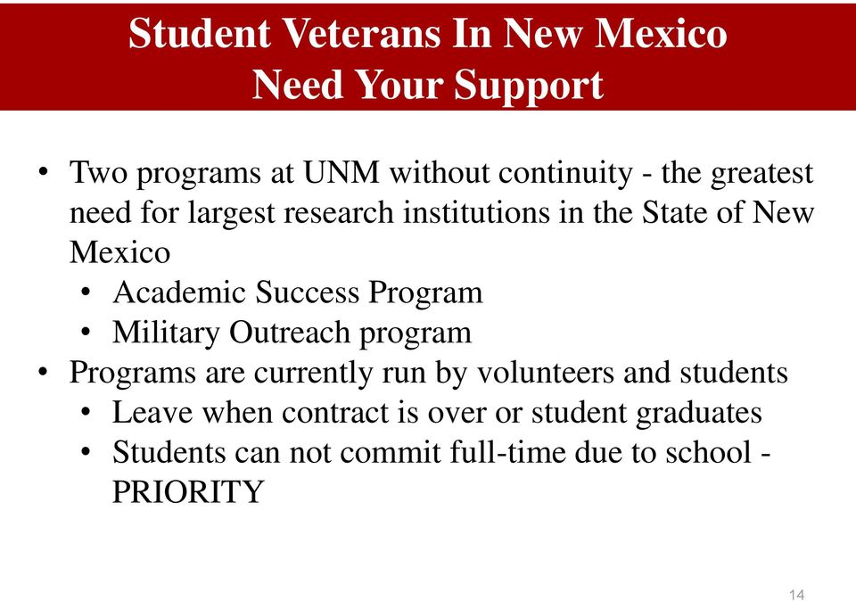 Program Military Outreach program Programs are currently run by volunteers and students Leave