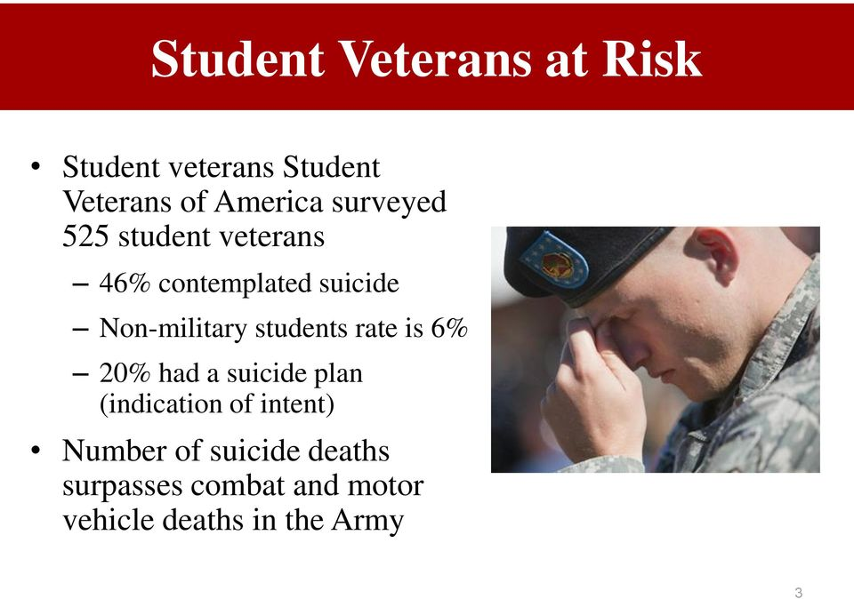 students rate is 6% 20% had a suicide plan (indication of intent)