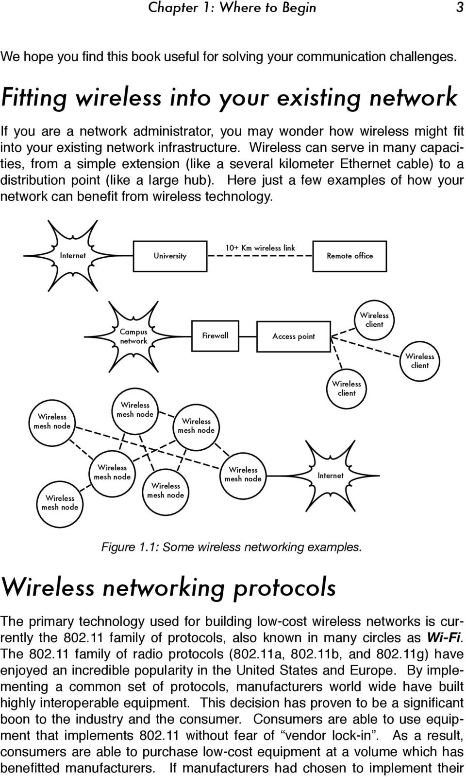 Wireless can serve in many capacities, from a simple extension (like a several kilometer Ethernet cable) to a distribution point (like a large hub).