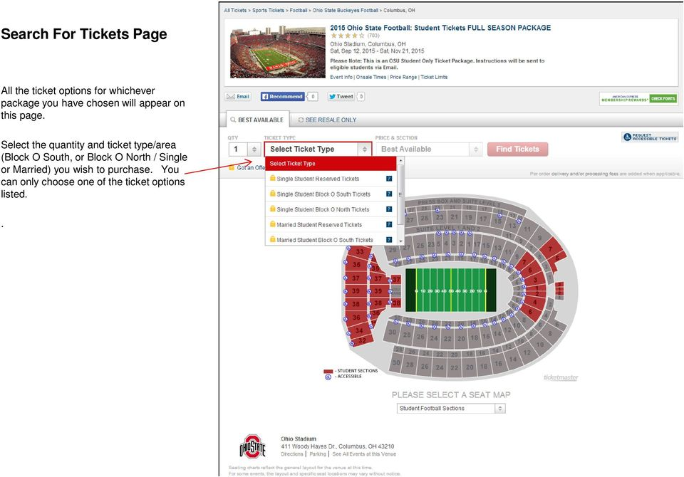 Select the quantity and ticket type/area (Block O South, or Block O