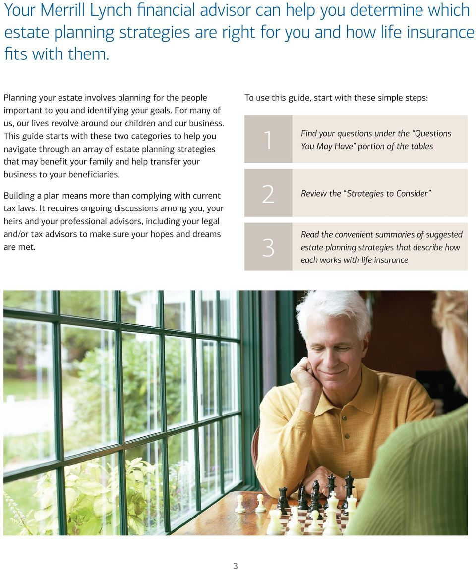 This guide starts with these two categories to help you navigate through an array of estate planning strategies that may benefit your family and help transfer your business to your beneficiaries.