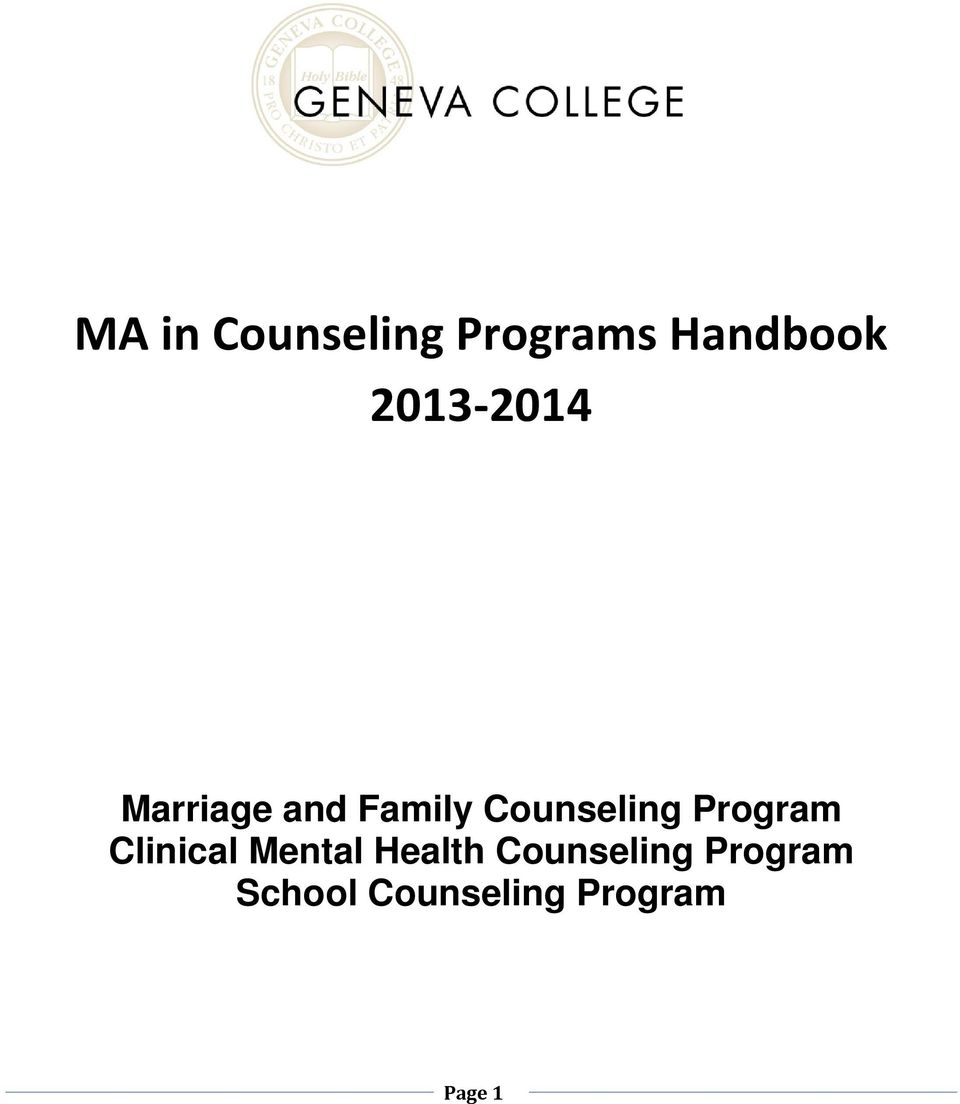 Counseling Program Clinical Mental