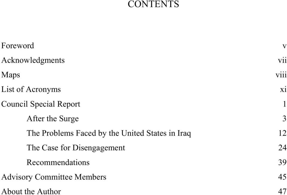 Problems Faced by the United States in Iraq 12 The Case for