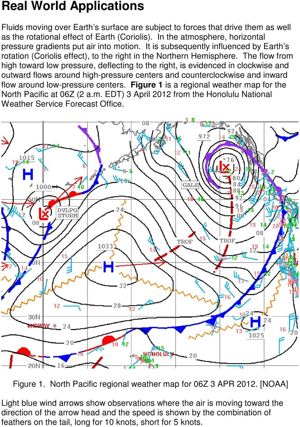 The flow from high toward low pressure, deflecting to the right, is evidenced in clockwise and outward flows around high-pressure centers and counterclockwise and inward flow around low-pressure