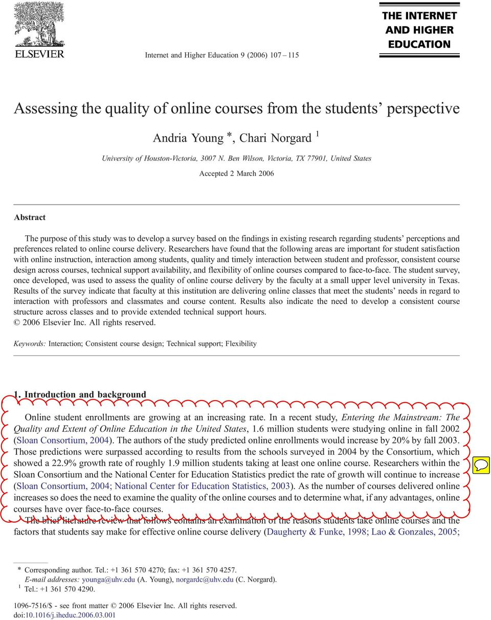 perceptions and preferences related to online course delivery.