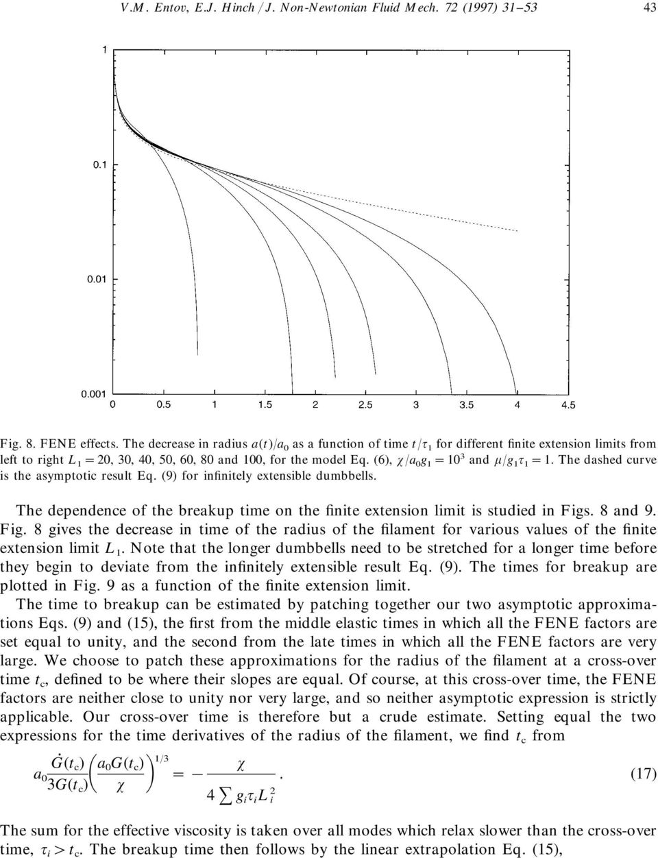 The dashed curve s the asymptotc result Eq. (9) for nfntely extensble dumbbells. The dependence of the breakup tme on the fnte extenson lmt s studed n Fgs