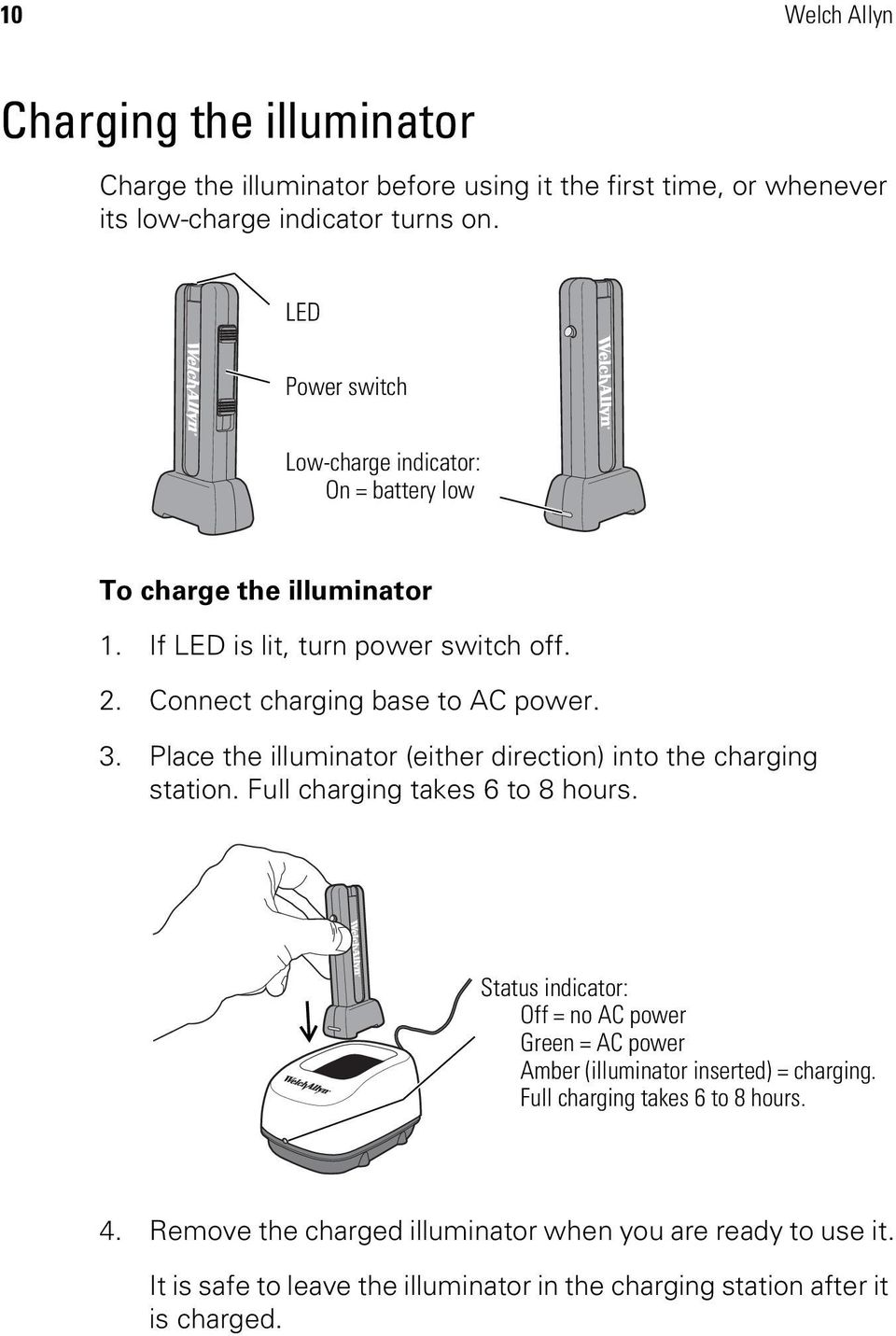 Place the illuminator (either direction) into the charging station. Full charging takes 6 to 8 hours.