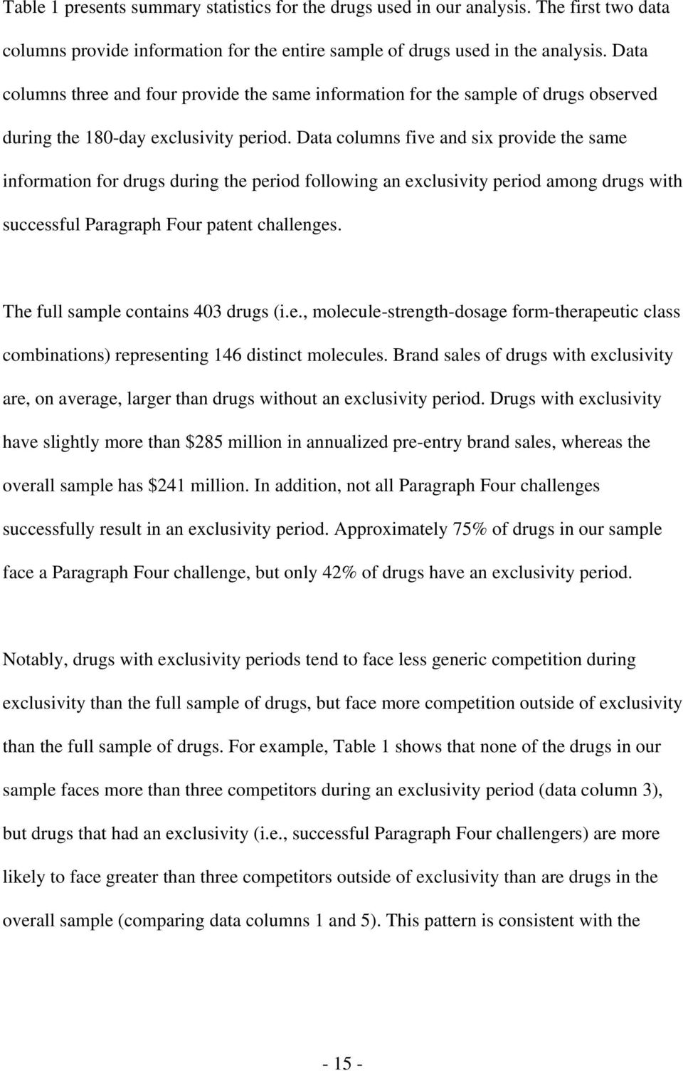 Data columns five and six provide the same information for drugs during the period following an exclusivity period among drugs with successful Paragraph Four patent challenges.