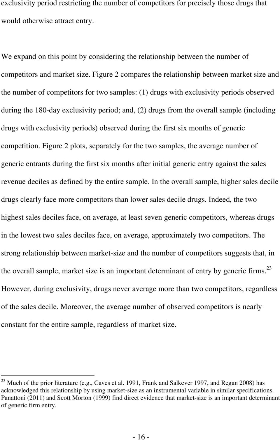 Figure 2 compares the relationship between market size and the number of competitors for two samples: (1) drugs with exclusivity periods observed during the 180-day exclusivity period; and, (2) drugs