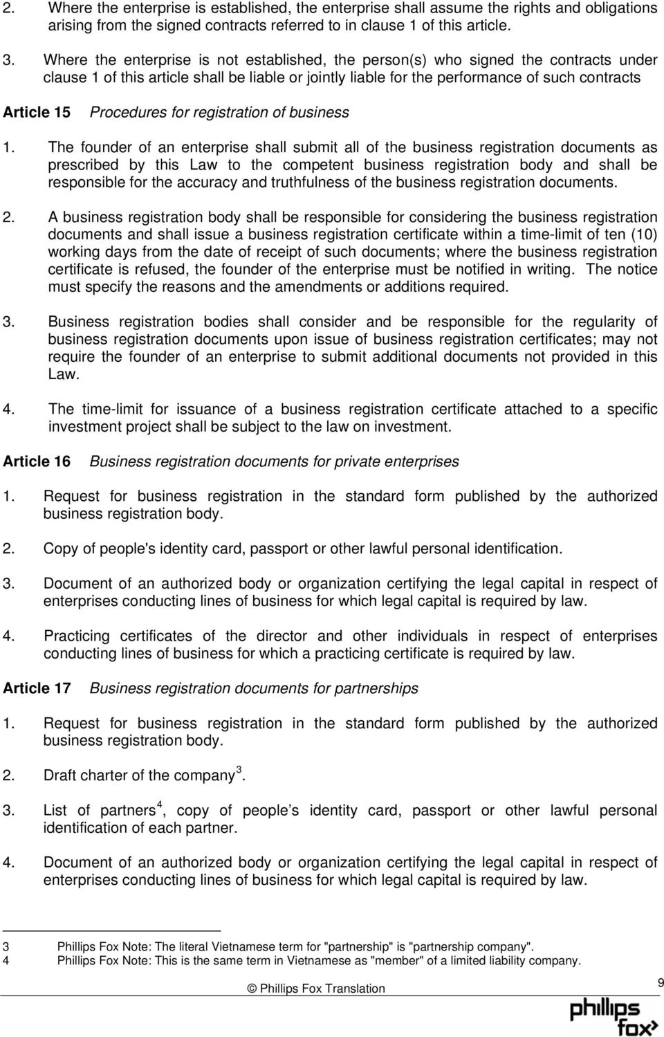 Procedures for registration of business 1.