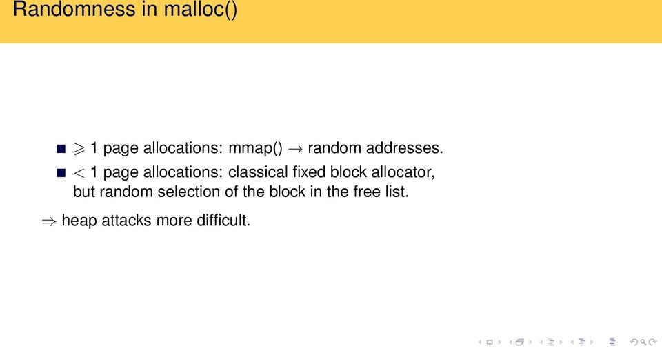 < 1 page allocations: classical fixed block