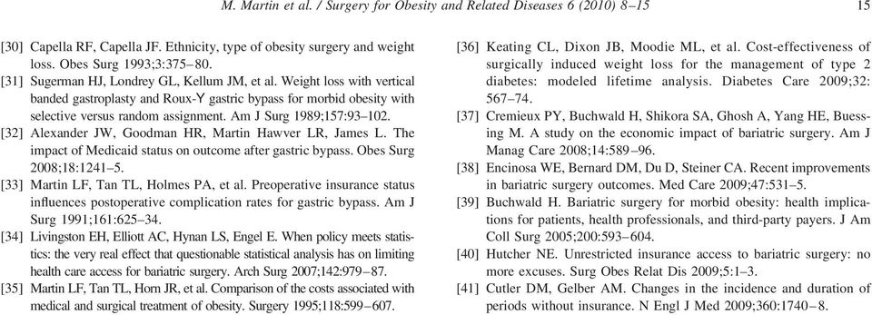 Am J Surg 1989;157:93 102. [32] Alexander JW, Goodman HR, Martin Hawver LR, James L. The impact of Medicaid status on outcome after gastric bypass. Obes Surg 2008;18:1241 5.