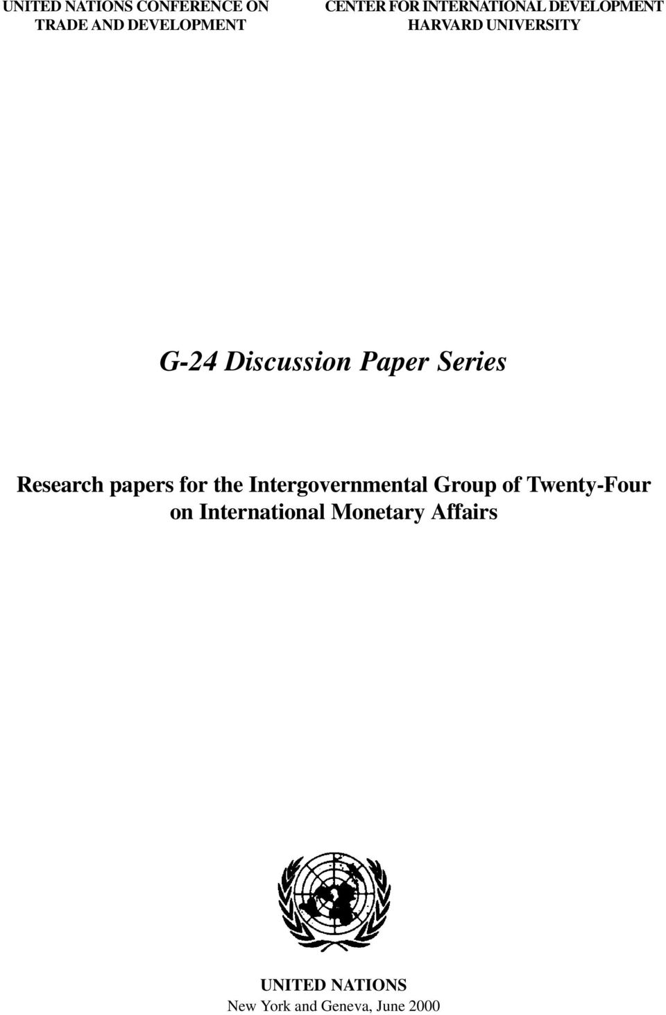 Series Research papers for the Intergovernmental Group of Twenty-Four