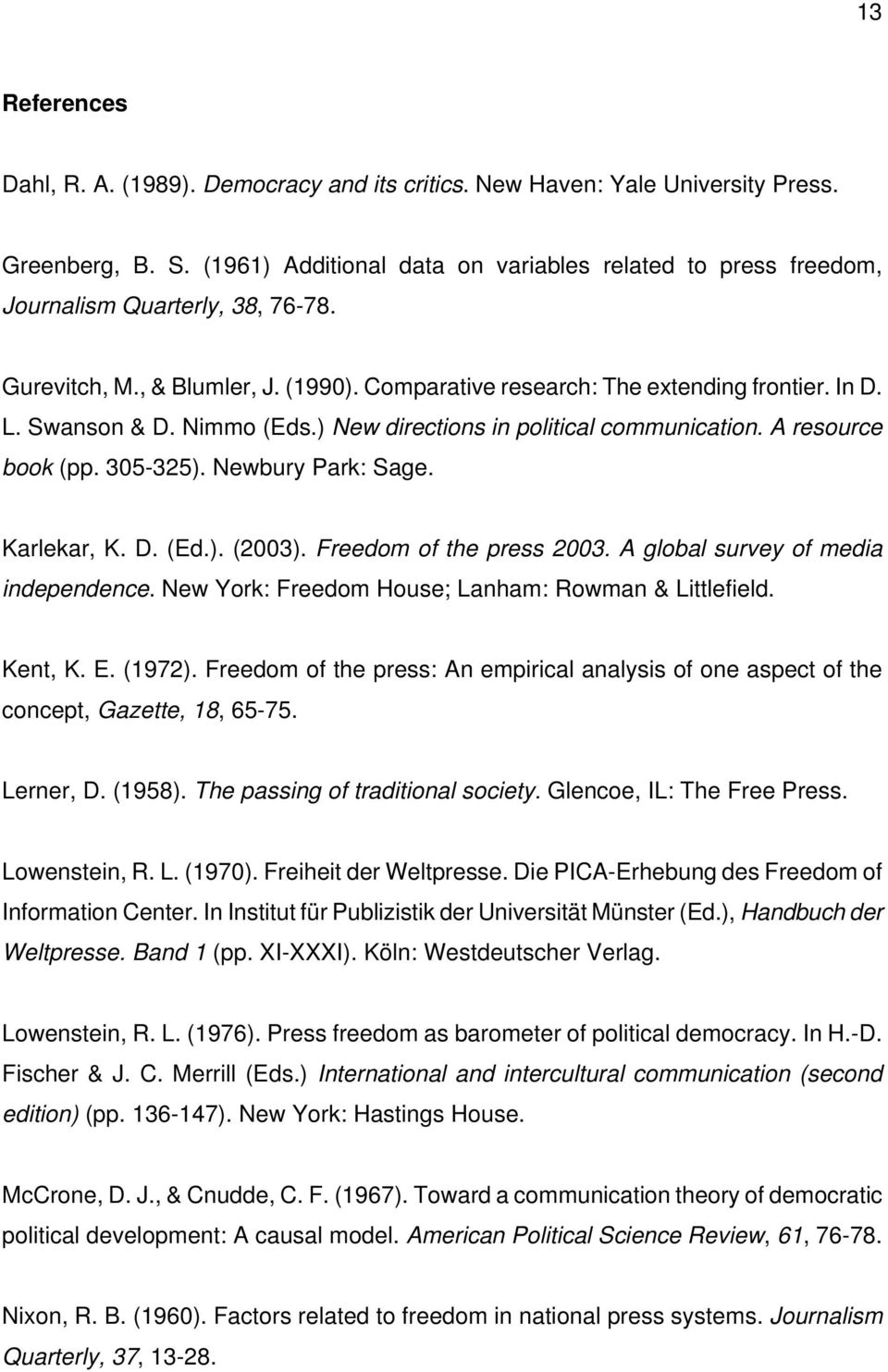 Nimmo (Eds.) New directions in political communication. A resource book (pp. 30-32). Newbury Park: Sage. Karlekar, K. D. (Ed.). (2003). Freedom of the press 2003.