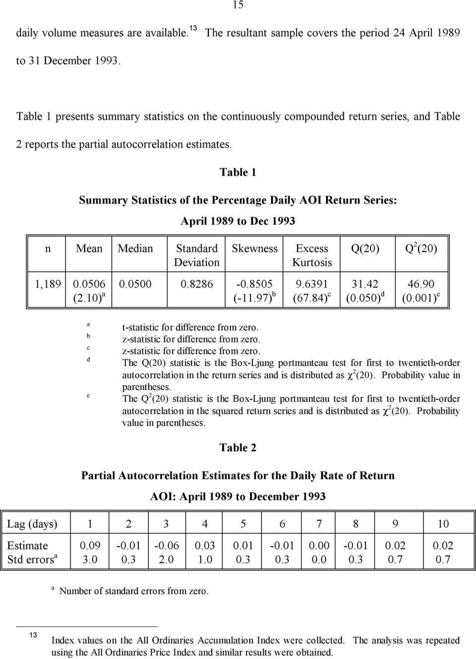 Table 1 Summary Statistics of the Percentage Daily AOI Return Series: n Mean Median Standard Deviation April 1989 to Dec 1993 Skewness Excess Kurtosis Q(20) Q 2 (20) 1,189 0.0506 (2.10) a 0.0500 0.
