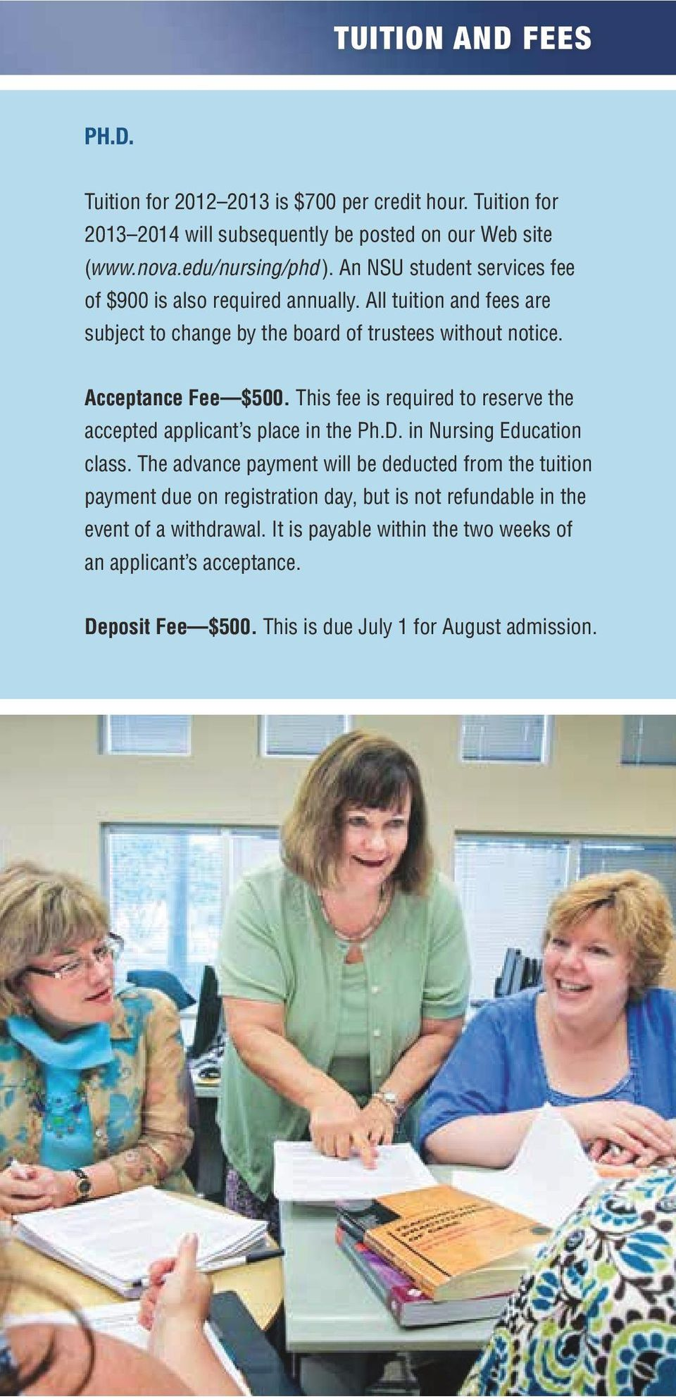 This fee is required to reserve the accepted applicant s place in the Ph.D. in Nursing Education class.