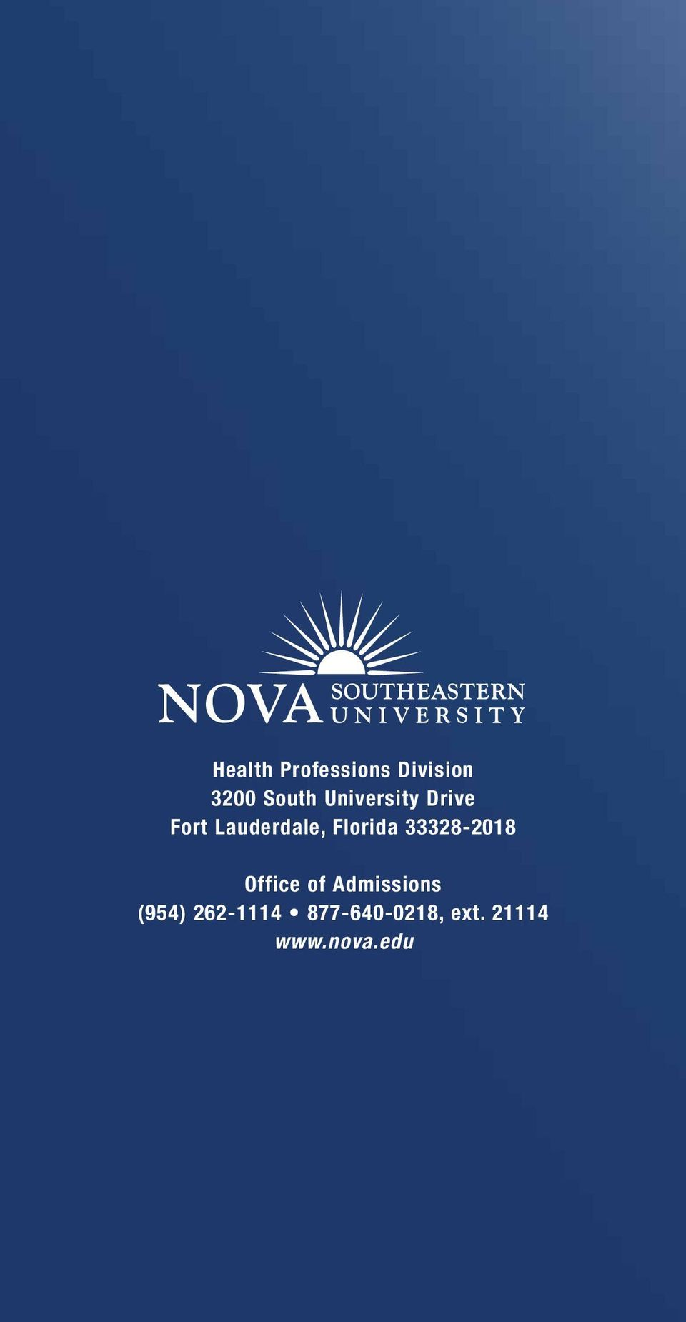 33328-2018 Office of Admissions (954)