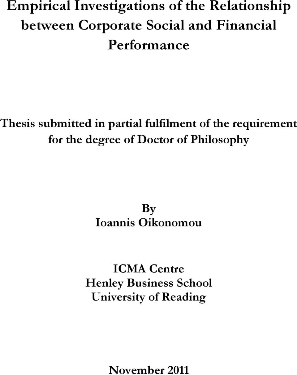 the requirement for the degree of Doctor of Philosophy By Ioannis