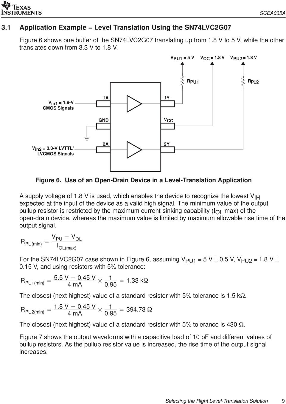 Use of an Open-Drain Device in a Level-Translation Application A supply voltage of 1.