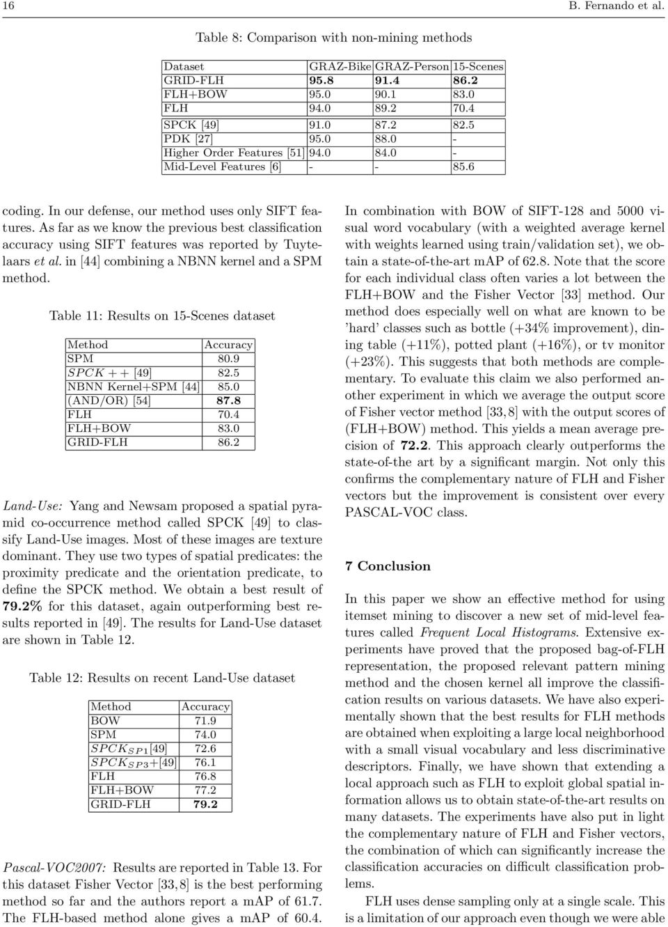 As far as we know the previous best classification accuracy using SIFT features was reported by Tuytelaars et al. in [44] combining a NBNN kernel and a SPM method.