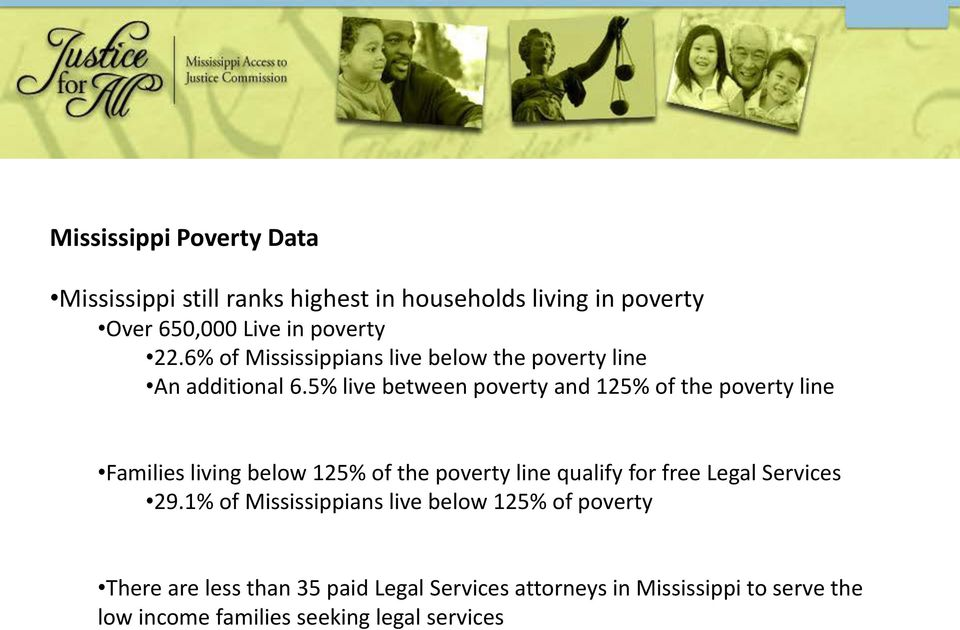5% live between poverty and 125% of the poverty line Families living below 125% of the poverty line qualify for free Legal