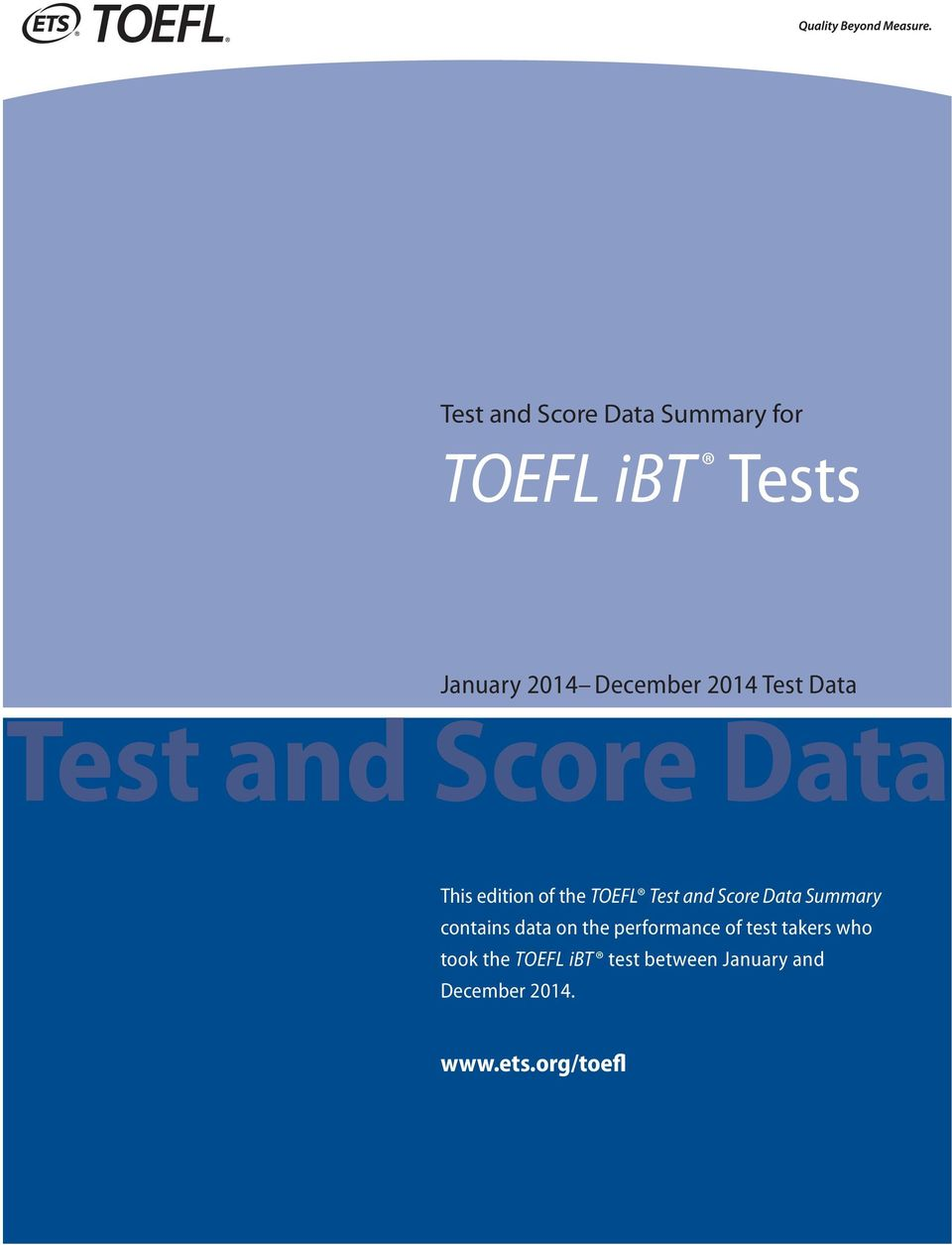 Score Data Summary contains data on the performance of test takers who