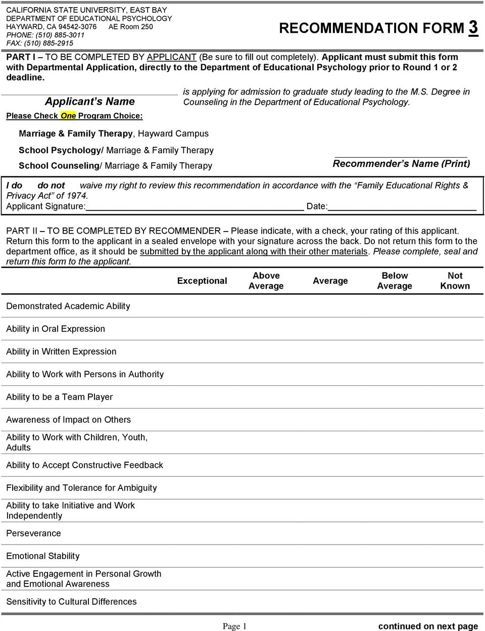 Applicant s Name Please Check One Program Choice: Marriage & Family Therapy, Hayward Campus is applying for admission to graduate study leading to the M.S.