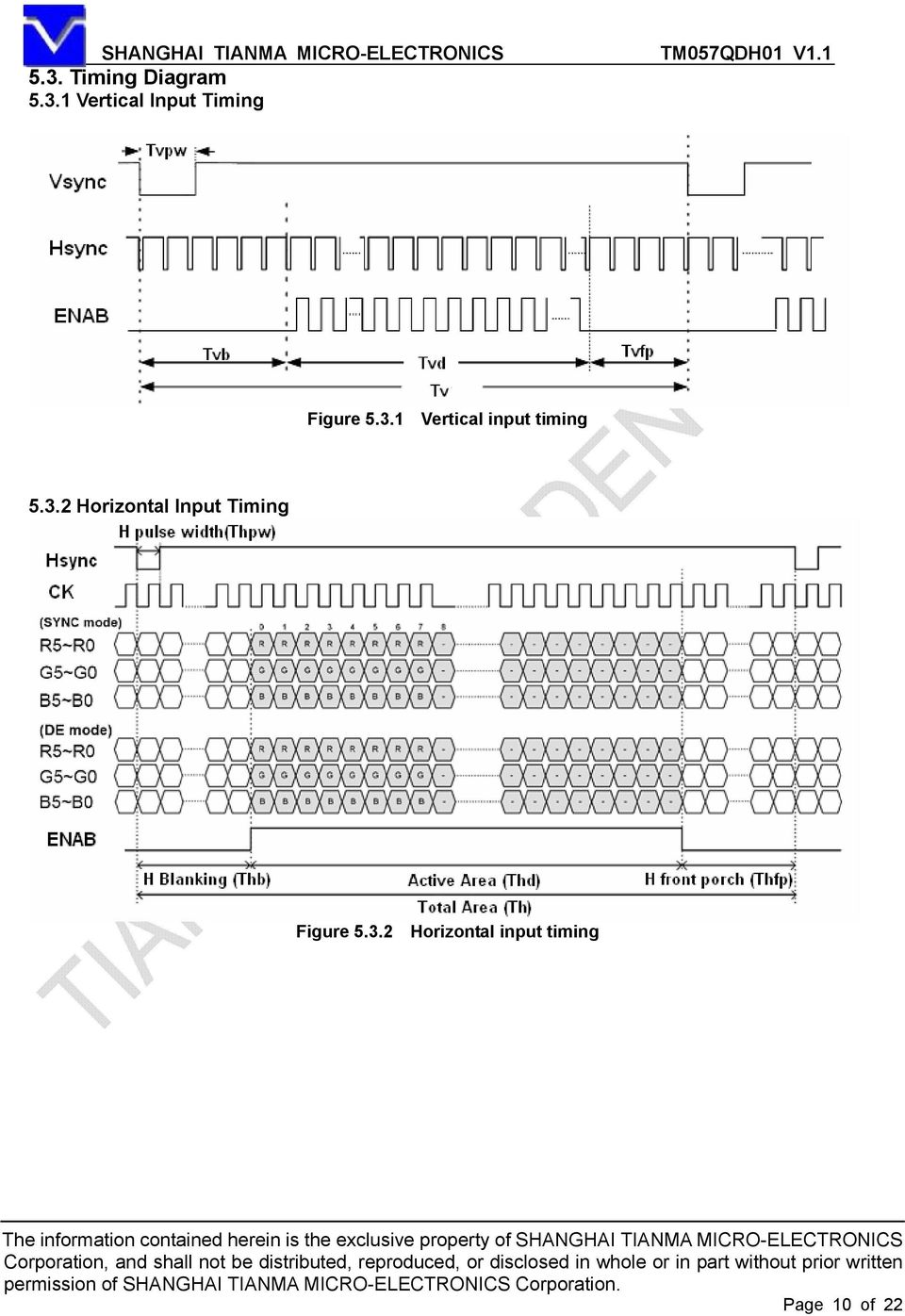 3.2 Horizontal input timing Page 10 of